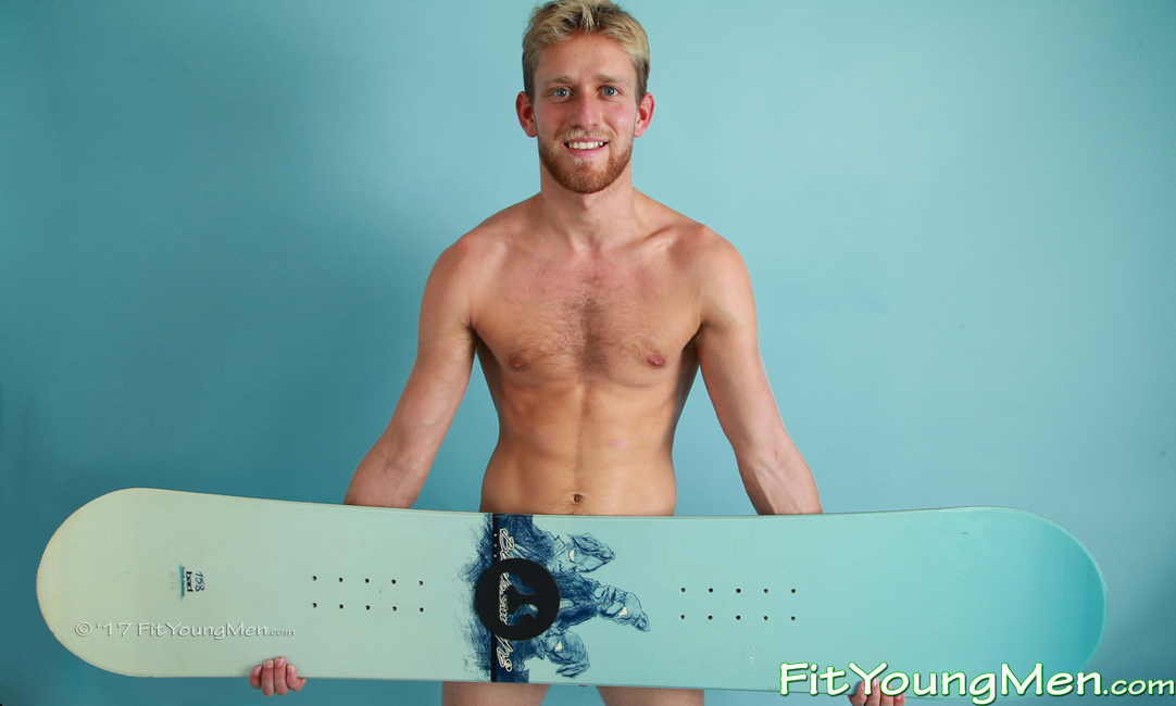 Fit Young Men: Model Sam Dillon - Snowboarder - Young Blond Snowboarding Hunk Shows his Rock Solid Muscles!
