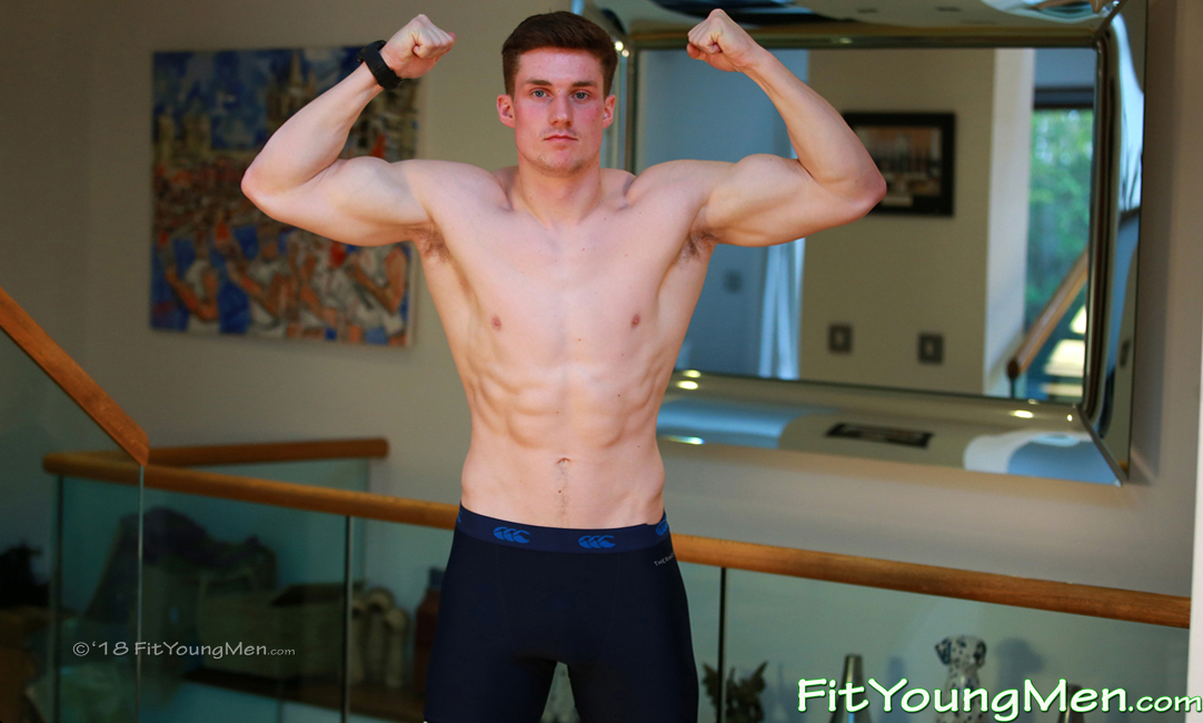 Fit Young Men: Model Harry Mallinder - Rugby Player - Young Athletic Rugby Player Harry Pumps his Muscles Real Hard!