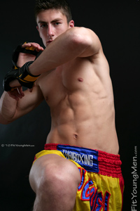 Fit Young Men Model Josh Peters Naked Kick Boxer