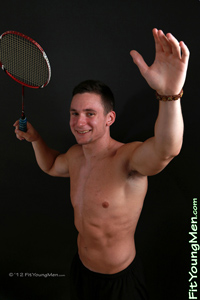 Fit Young Men Model Jerry Harper Naked Badminton Player