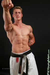 Fit Young Men Model Johnny Rochford Naked Karate