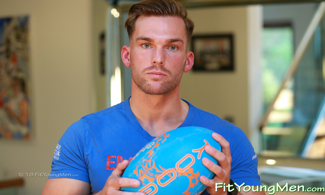 Fit Young Men: Model Frankie Foster - Rugby Player - Hunky Young Rugby Stud Frankie Pumps up his Muscles!