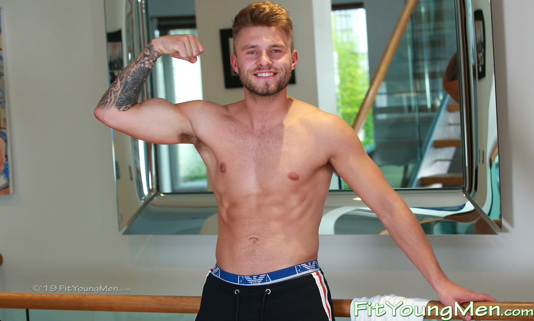 Fit Young Men: Model Harvey Jones - Footballer - Super Toned Young Footballer Harvey Shows off His Buldging Muscles