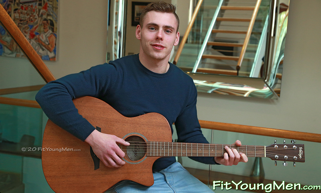 Fit Young Men: Model Patrick West - Footballer - Young Muscian Shows off his Ripped Muscles & Plays his Guitar!