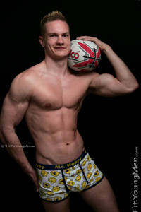 Fit Young Men Model Oli Hartley Naked Rugby Player