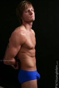 Fit Young Men Model Bobby Rogers Naked Kick Boxer