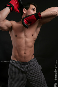 Fit Young Men Model Carl Mitchell Naked Thai Boxer