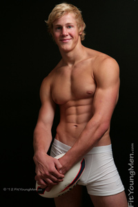 Fit Young Men Model Cameron Bruce Naked Rugby Player
