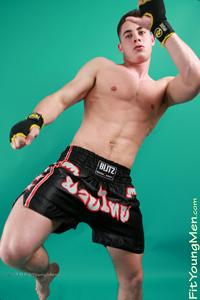 Fit Young Men Model Damian Willaby Naked Muay Thai