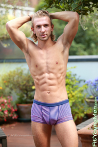 Fit Young Men Model Brendan Howard Naked Boxer