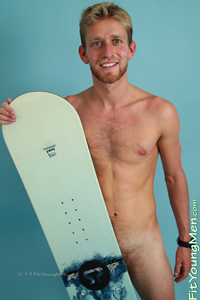 Fit Young Men Model Sam Dillon Naked Snowboarder
