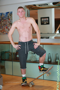 Fit Young Men Model Jimmy Harris Naked Skateboarder