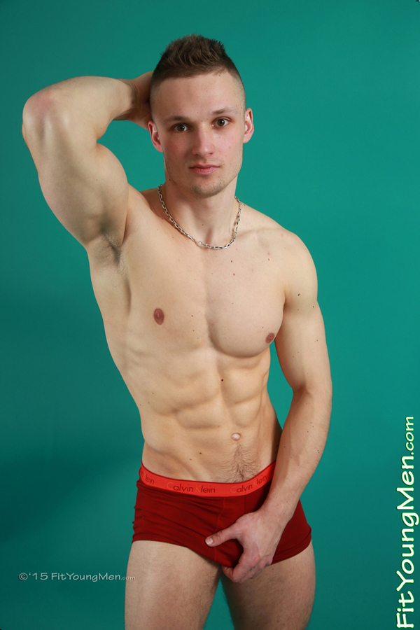 Fit Young Men Model Joe Banic Naked Power Lifter