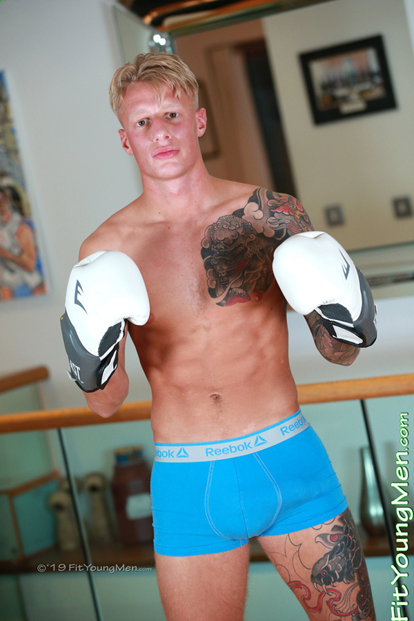 Fit Young Men Model Jake Campbell Naked Boxer